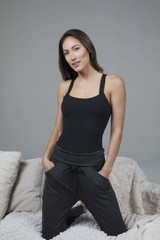 yoga bodysuit paired with easy foldover jogger