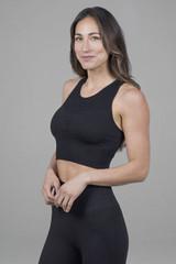 High neck yoga crop top in black
