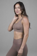 supportive yoga bra in taupe color