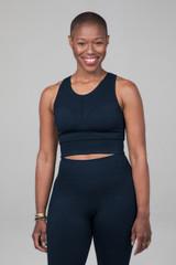navy supportive yoga bra