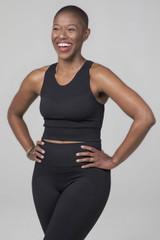 Kathryn Seamless High Neck Yoga Bra in black