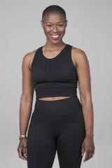 black high neck yoga bra