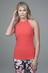 High Neck Yoga Tank in Coral Pink