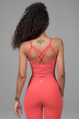 Strappy back activewear crop top in pink