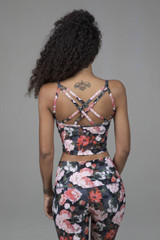 Strappy Back Yoga Crop with built in bra floral print