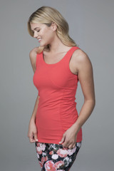 Thick Strap Long Yoga Tank with ruched side detail