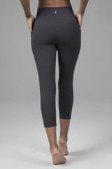 Dark Grey Pocketed Yoga Capri Leggings back view