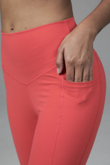 High waist spring yoga bottoms in coral