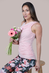 Spring Yoga Outfit Pink and Floral Print
