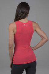 High Coverage Long Yoga Top in Coral Pink