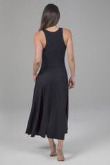 Long Black Yoga Dress with Pockets