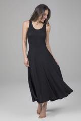 Midi Fit & Flare Yoga Dress in Black