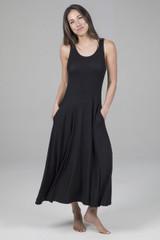 Scoop Neck Black Mid Length Dress