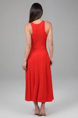 Long Red Midi Dress back view
