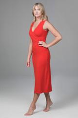 hot red yoga wrap dress
