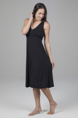 V-Neck Midi Dress in Black