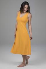 Spring Yellow V-Neck Mid Length Dress