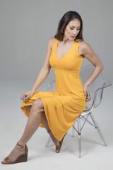 Elegant Spring Dress in Marigold lifestyle