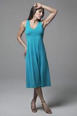 Elegant Tile Blue Midi Yoga Dress