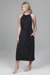 High Neck Midi Dress with tie waist and pockets