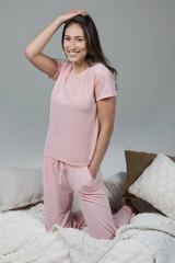 Pink Loungewear Set Tee and Drawstring Bottoms