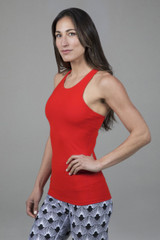 bright red yoga tank