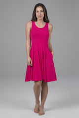 Fit & Flare Dress Raspberry Front