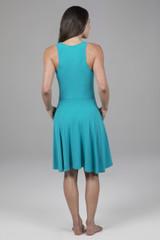 Fit & Flare Yoga Dress Tile Blue Back View