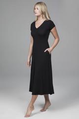 black yoga dress with pockets