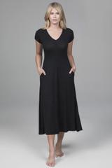 Short Sleeve V-Neck Dress (Black)