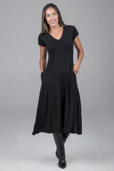 Short Sleeve V-Neck Dress styled for fall