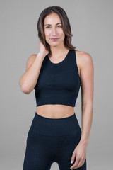 supportive yoga bra in navy