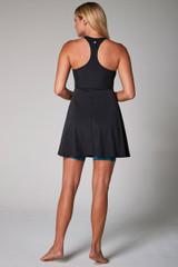 racerback yoga dress with blue leopard shorts