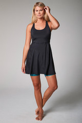 action yoga dress with blue leopard shorts