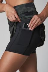 Olive Camo Perfect Skort Up-Close pocket
