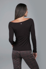 Ruched Long Yoga Top Brown