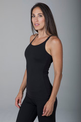 Black Double-Strap Yoga Tank Top Cami