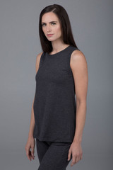 Long-length sleeveless gray tunic