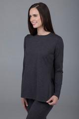 Split Side Long Sleeve  Charcoal Heather