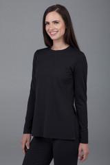Black split long sleeve tunic
