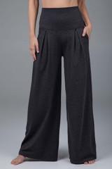Pleated wide leg pants charcoal heather