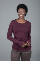 Side Ruched Long Sleeve Yoga Top Plumberry