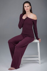 Off The Shoulder Yoga Top (Plumberry)