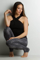 Luxe Halter Criss-Cross Top Front View With Leopard Legging