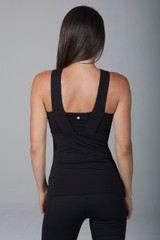 Glamour Goddess Luxe Halter Black two thick strap back view
