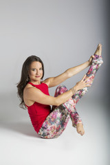 Red Hot Yoga Halter Top as seen on Tiffany Cruikshank yoga pose