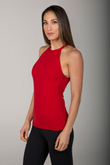 Ruby Red High Neck Tank Top with Open Back