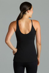 Black halter workout top Back View