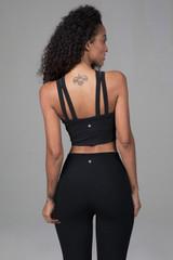 Caged Halter Yoga Crop Top Black Back