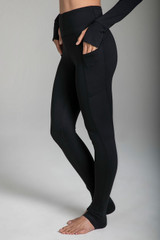 High Rise Black Yoga Leggings with Side Pockets